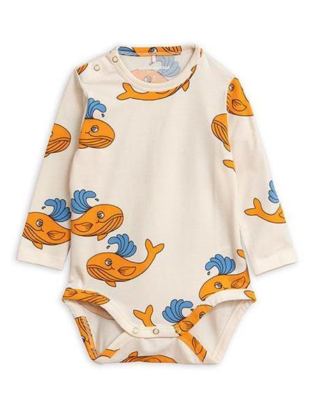 Kids Mini Rodini Whale Long Sleeve Body - Orange