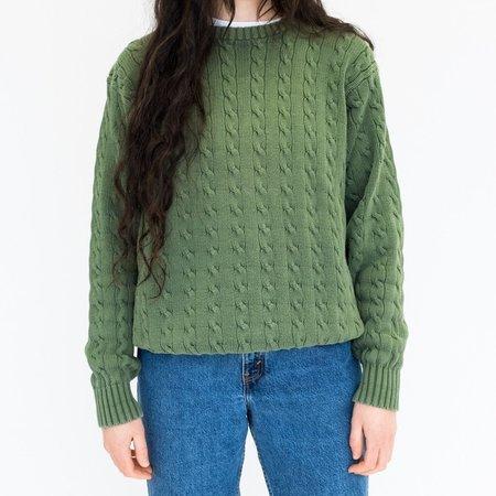 Vintage Johan Cableknit Cotton Sweater - Green