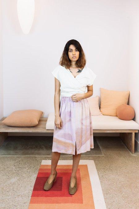 Miranda Bennett Sunrise Collection x Naomi Clark: Silk Noil Paper Bag Skirt