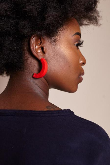Peppertrain Large Crescent Earrings - Red