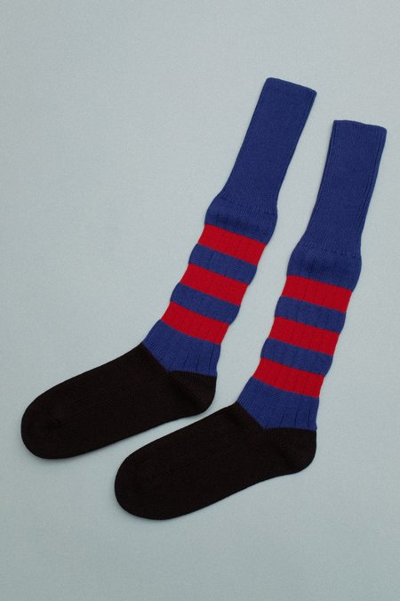 Marni 3 Stripe High Socks - Blue/Red