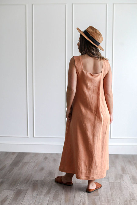 NOMI DESIGNS EMMA LINEN MAXI DRESS - peach