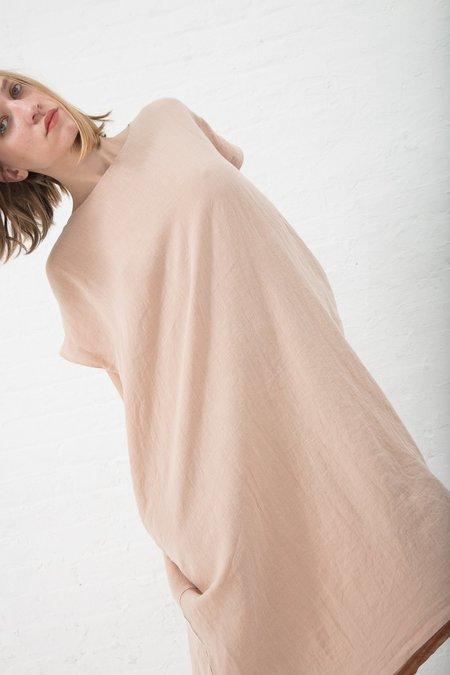 Black Crane Linen Woven Pleated Cocoon Dress - Peach