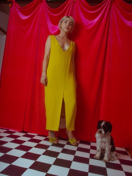 Greta Boldini Ranuncolo Dress - lime yellow