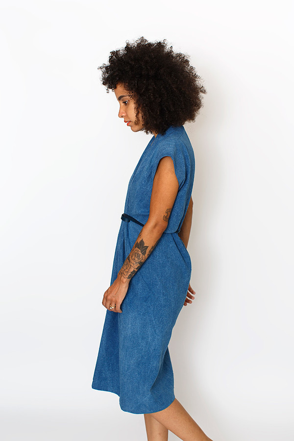 Sale! Indigo Tempest Dress, Silk Noil