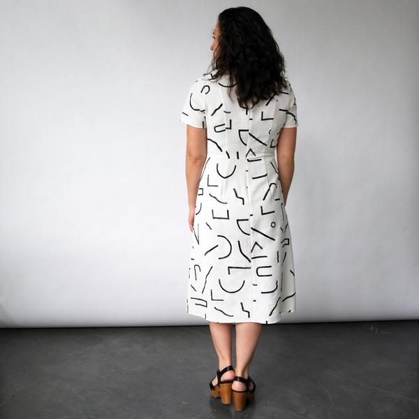 Midi Tee Dress in Lines Print