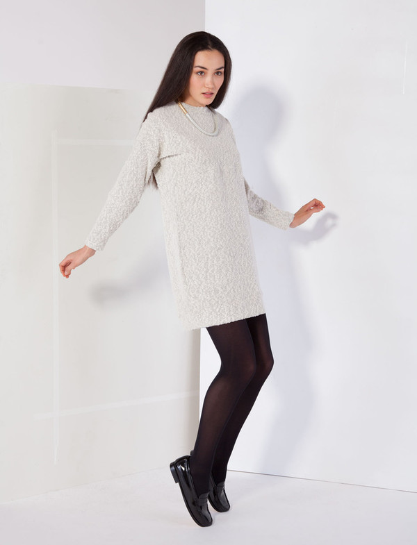 Pebble Knit Dress in White