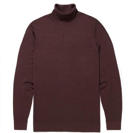 Sunspel Long Sleeve Roll Neck - Mosto Brown