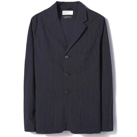 Universal Works Raised Pinstripe Suit Jacket - Navy