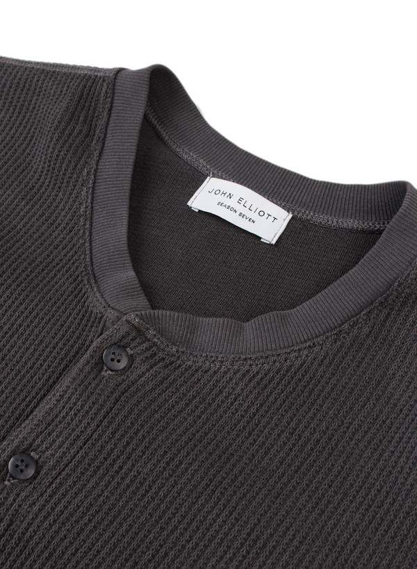Men's John Elliott SS Flatback Thermal Henley Black