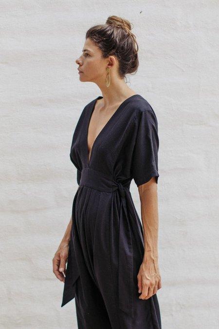 Ozma Cala Silk Noil Jumpsuit - Black