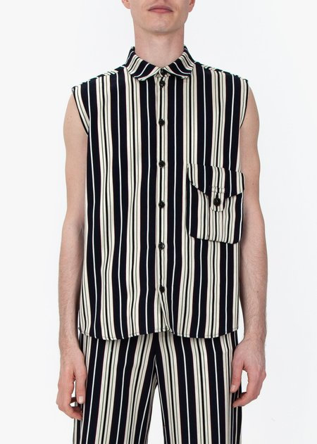 fomme Sleevless Shirt - Blue Stripes