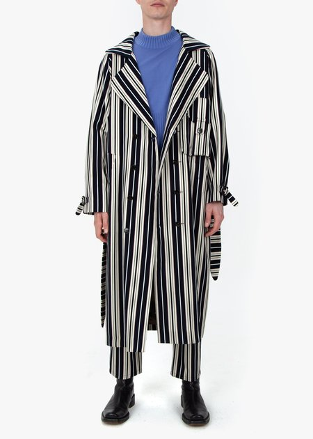 fomme Trench Coat - Blue Stripes