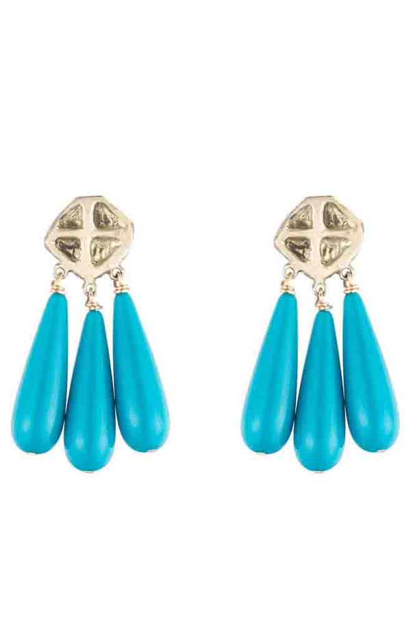 NATALIE FRIGO Triangles And Turquoise Earrings