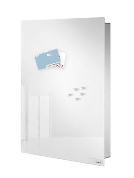 BLOMUS Glass magnet board, w/ hook organizer - white