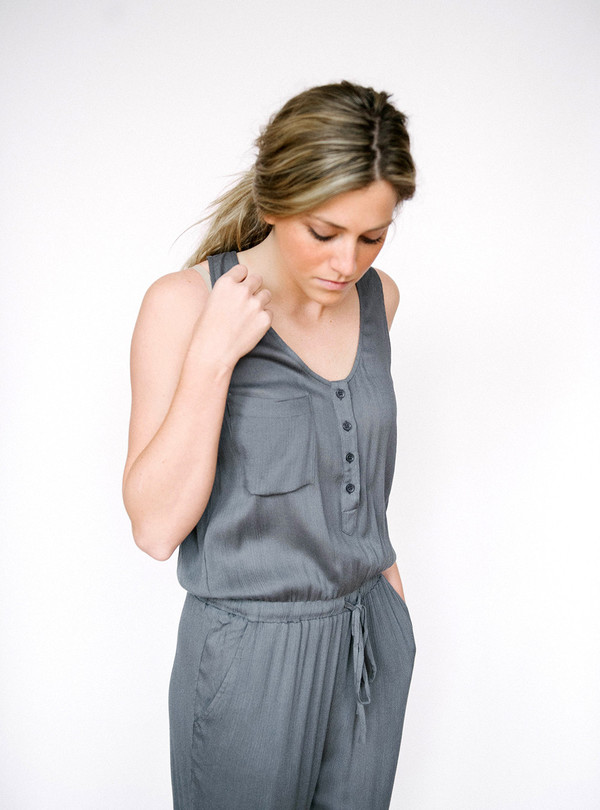 En Creme Button Down Jumpsuit