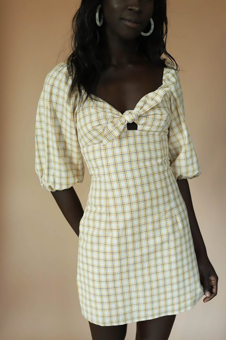 English Factory Plaid Front Tie Dress - Yellow