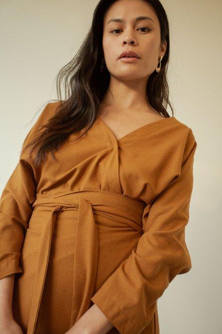 OR Raw Silk Wrap Dress - Caramel