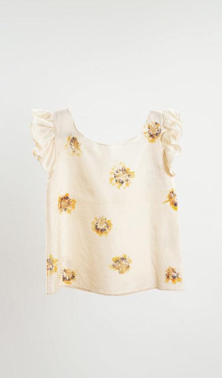Kids Petit Mioche Eco-printed Silk Ruffle Tunic