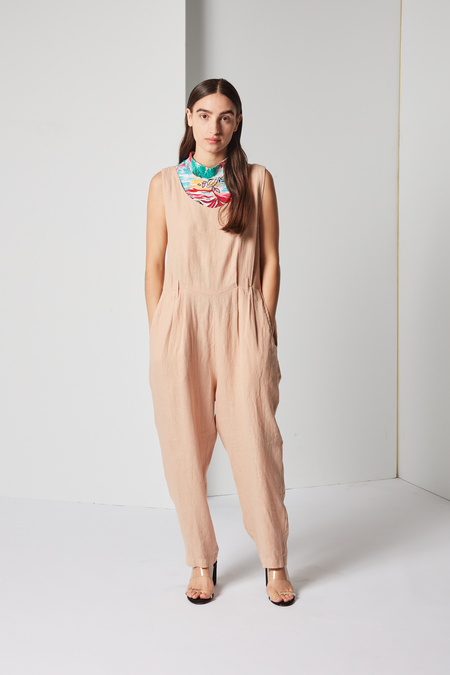 Black Crane Overall in Peach
