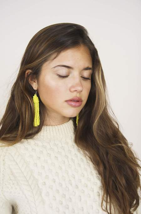 Bird on A WIRE beaded tassel earrings - Yellow