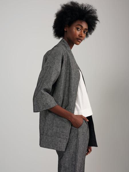 Odeyalo Bloom Linen Kimono Inspired Overpiece - Grey