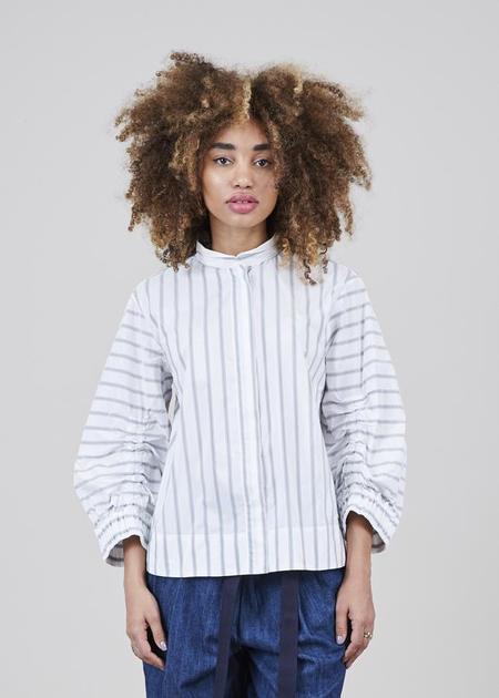 Odeeh 3/4 Sleeve Striped Shirt - White/Grey