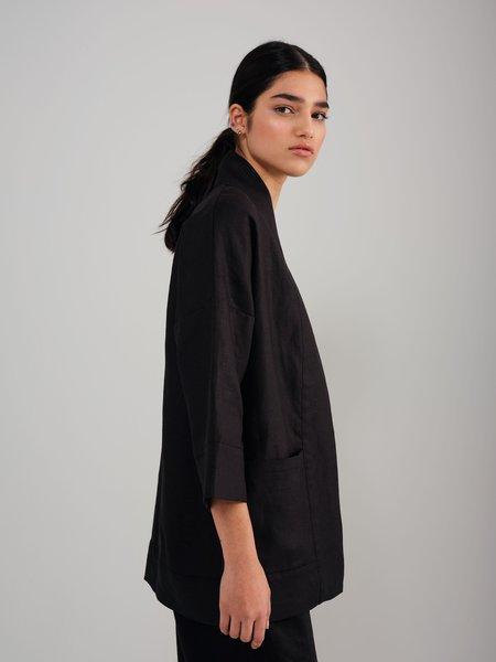 Odeyalo Bloom Linen Kimono Inspired Overpiece - Black