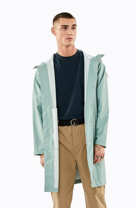 Unisex Rains Long Jacket - Dusty Mint
