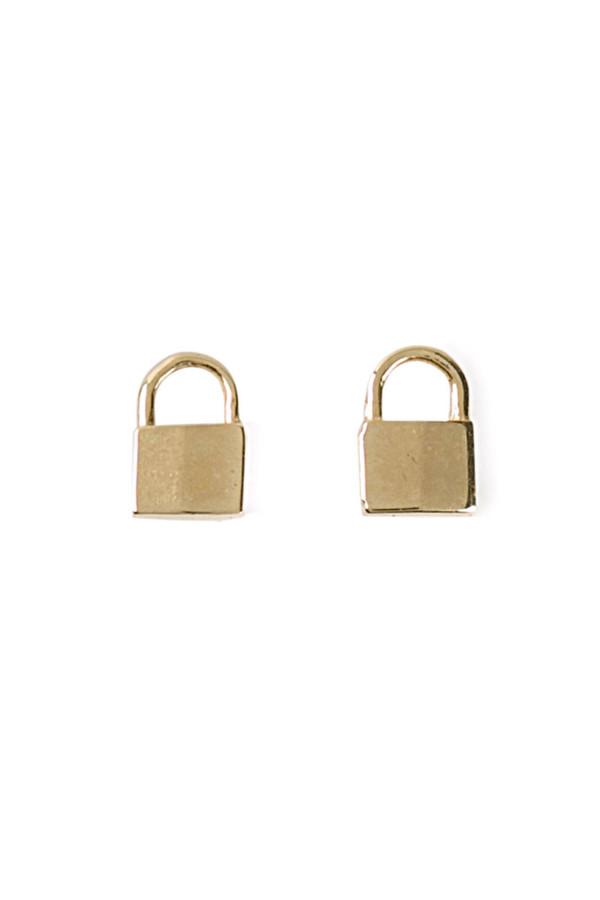 Lauren Klassen Tiny Padlock Earrings - Gold