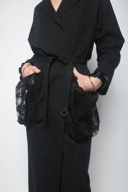 Leur Logette Vintage Linen Coat - Black