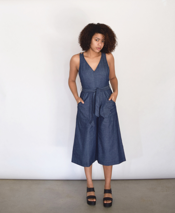 Lush V Denim Jumpsuit