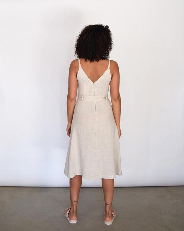 Lush V Linen Dress in Oatmeal