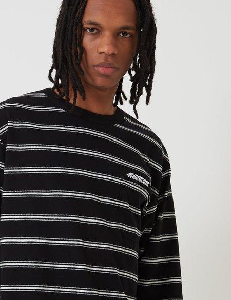 Manastash Striped Crepey Long Sleeve T-Shirt - Black
