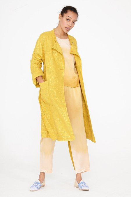 Raquel Allegra Lame Cropped Trench Coat - Gold