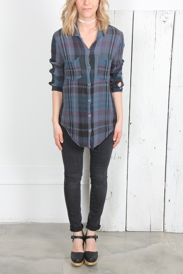 RAQUEL ALLEGRA WASHED GAUZE BUTTON DOWN SHIRT
