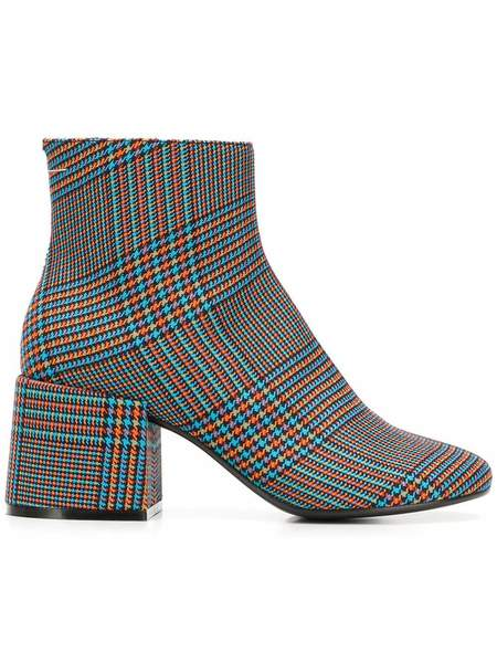 MM6 Maison Margiela Checked Ankle Boots - Blue/Orange