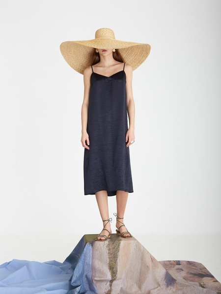 KINDA YYY Jardin Slip Dress - Dark Navy