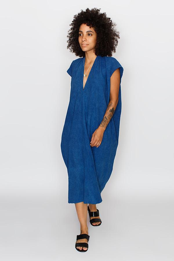 Miranda Bennett: Everyday Dress, Oversized, Silk Noil in Indigo