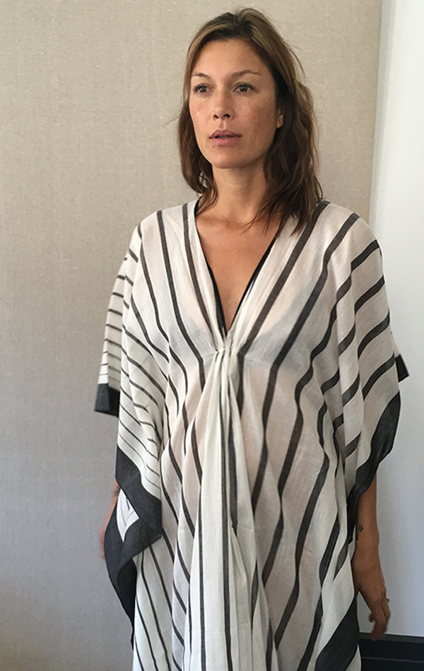 Two NYC Black and White v neck caftan