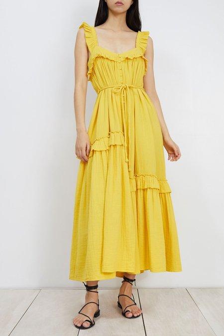Apiece Apart Lypie Ruffle Tank Dress - YELLOW