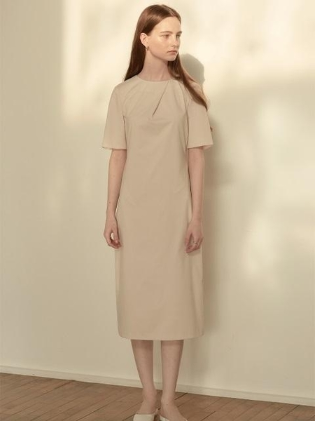 KLEAN Pleated Drape Dress - Beige