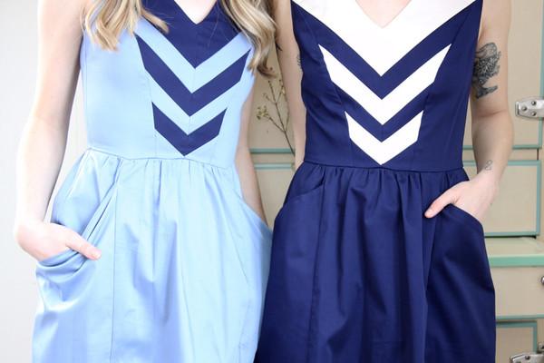 Birds of North America Parula Dress (Light Blue/Navy)