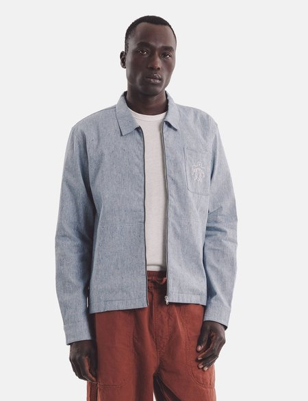 YMC Embroidered Bowie Zip Shirt - Light Blue