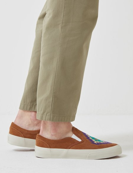 YMC Z-Boy Ikat Suede Trainer - Tan Brown