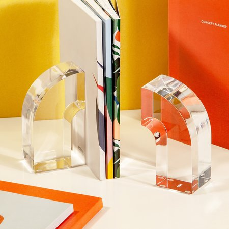 Poketo Arc Bookends - Crystal Clear