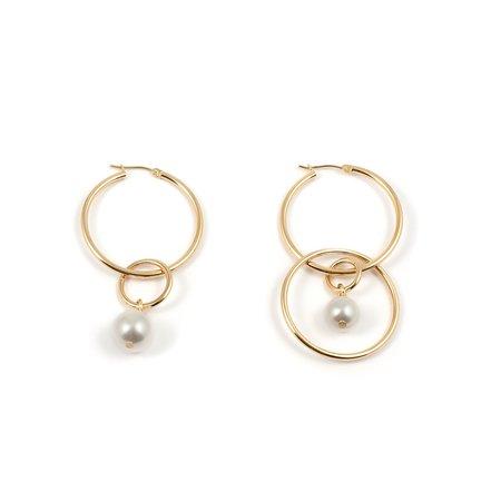 Joomi Lim Medium Hoop Earrings With Pearl Drops - Gold/White