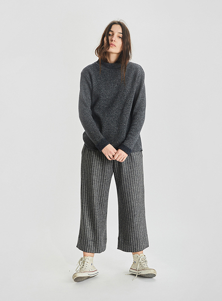 I AND ME Mixed Wool Funnel Neck Jumper - Grey