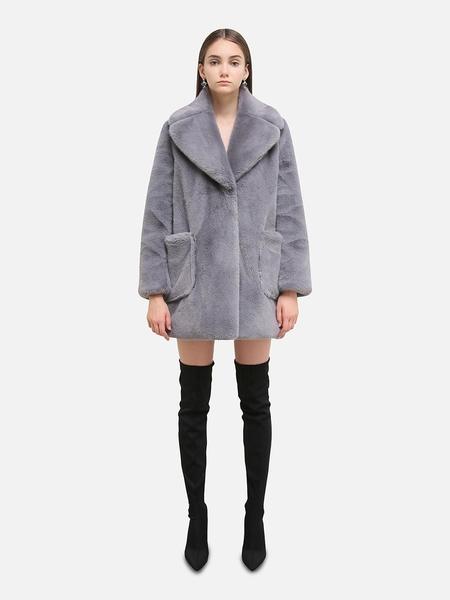 HAVE LESS Mid Faux Fur Coat - Grey