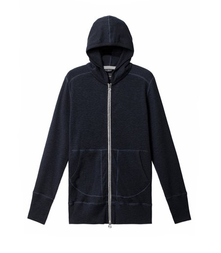 Wings+Horns 1x1 Slub Zip Hoody - Navy